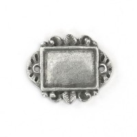 30mm Artisan Rectangle Stamping Blank Link, Pewter