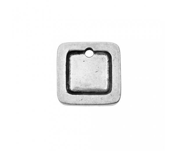12mm Square Frame Stamping Blank, Pewter, 1 Piece
