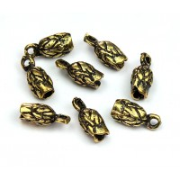 14x6mm Leaf Cord Ends for 2.5mm Cord, Antique Gold