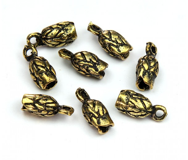 14x6mm Leaf Cord Ends for 2.5mm Cord, Antique Gold, Pack of 6