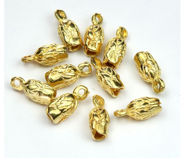 14x6mm Leaf Cord Ends for 2.5mm Cord, Gold Plated, Pack of 6