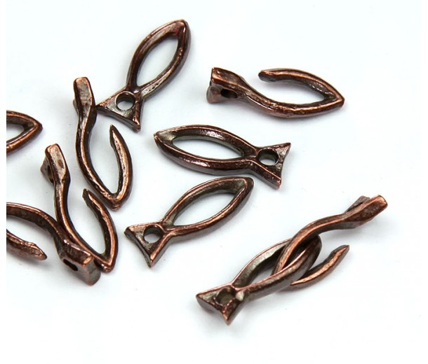 16mm Rustic Fish Hook Clasp, Bronze, Pack of 4 Sets