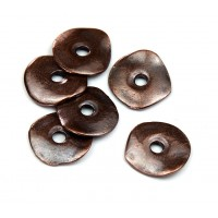 15mm Cornflake Disk Beads, Bronze Plated