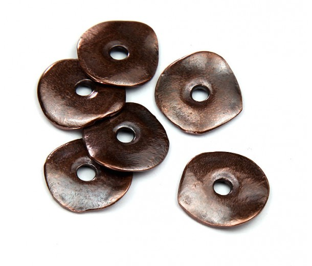 15mm Cornflake Disk Beads, Bronze Plated, Pack of 8