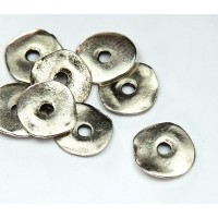 15mm Cornflake Disk Beads, Antique Silver