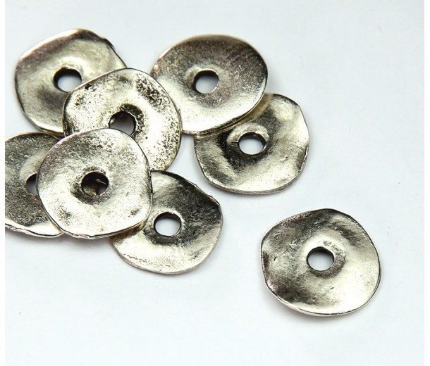 15mm Cornflake Disk Beads, Antique Silver, Pack of 8