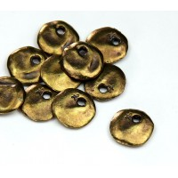 12mm Cornflake Disk Charms, Antique Brass