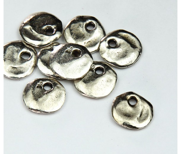12mm Cornflake Disk Charms, Antique Silver