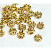 5mm Daisy Spacer Beads, Shiny Gold Tone, Pack of 50