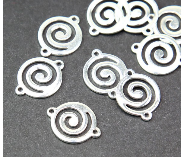 13x17mm Flat Swirl Links, Silver Plated