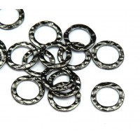 11mm Hammered Linking Rings, Gunmetal, Pack of 20