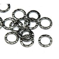 11mm Hammered Linking Rings, Gunmetal