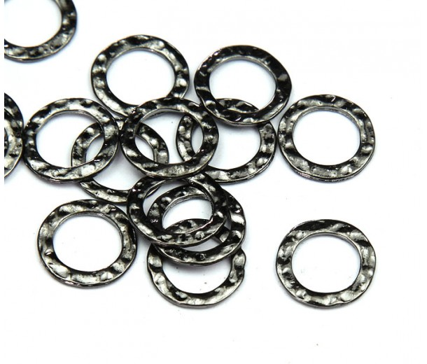 11mm Hammered Linking Rings, Gunmetal