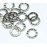 11mm Hammered Linking Rings, Rhodium Plated