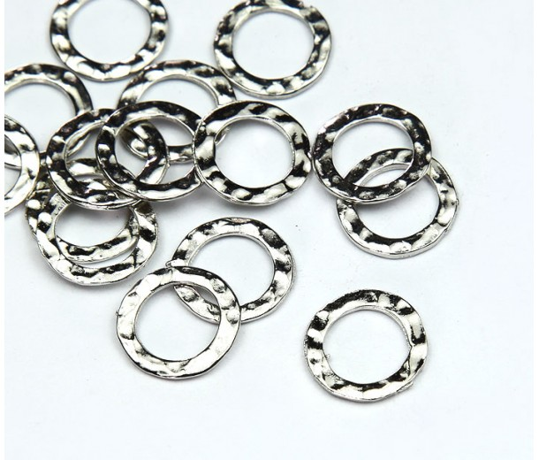 11mm Hammered Linking Rings, Rhodium Plated, Pack of 20
