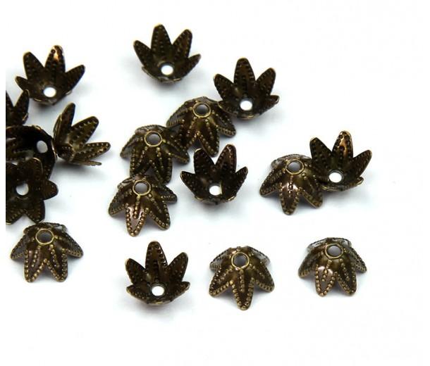7mm Beaded Flower Bead Caps, Antique Brass
