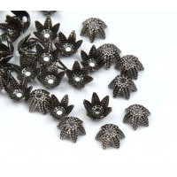 6mm Beaded Flower Bead Caps, Antique Silver