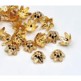 7mm Beaded Flower Bead Caps, Gold Plated