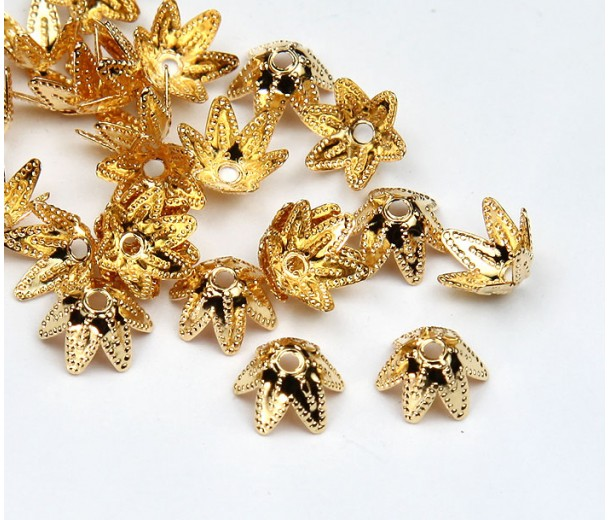 7mm Beaded Flower Bead Caps, Gold Plated, Pack of 50