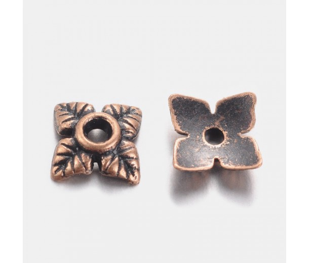 6mm Tiny Leaves Bead Caps, Antique Copper, Pack of 50