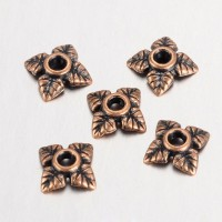 6mm Tiny Leaves Bead Caps, Antique Copper