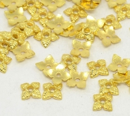6mm Tiny Leaves Bead Caps, Gold Tone