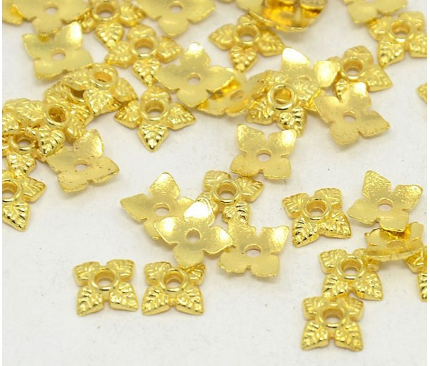 6mm Tiny Leaves Bead Caps, Gold Tone, Pack of 50