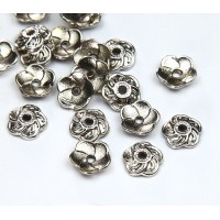 9mm Flower Round Bead Caps, Antique Silver, Pack of 40