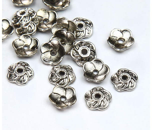 9mm Flower Round Bead Caps, Antique Silver