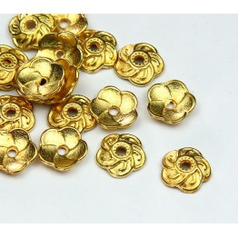 9mm Flower Round Bead Caps, Gold Tone