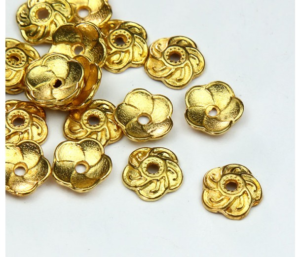 9mm Flower Round Bead Caps, Gold Tone, Pack of 40