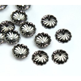 10mm Flat Swirl Bead Caps, Gunmetal