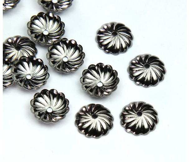 10mm Flat Swirl Bead Caps, Gunmetal, Pack of 20