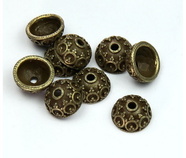 10x5mm Ornate Round Bead Caps, Antique Brass