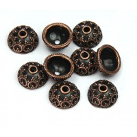 10x5mm Ornate Round Bead Caps, Antique Copper, Pack of 20