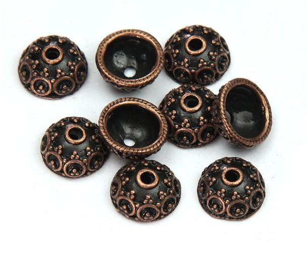 10x5mm Ornate Round Bead Caps, Antique Copper