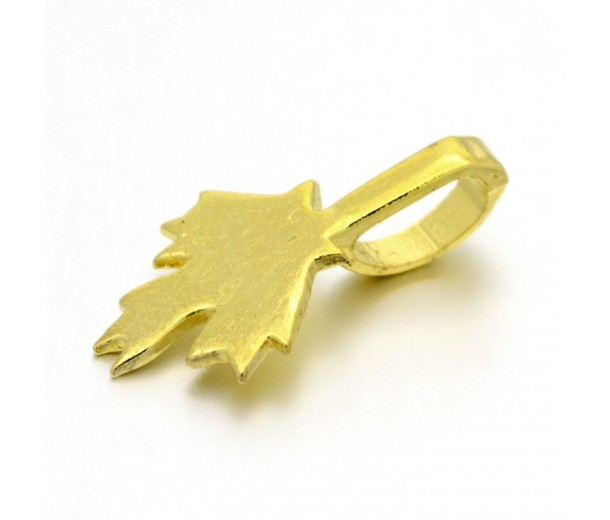 21mm Maple Leaf Glue-On Flat Pad Bails, Gold Tone, Pack of 10