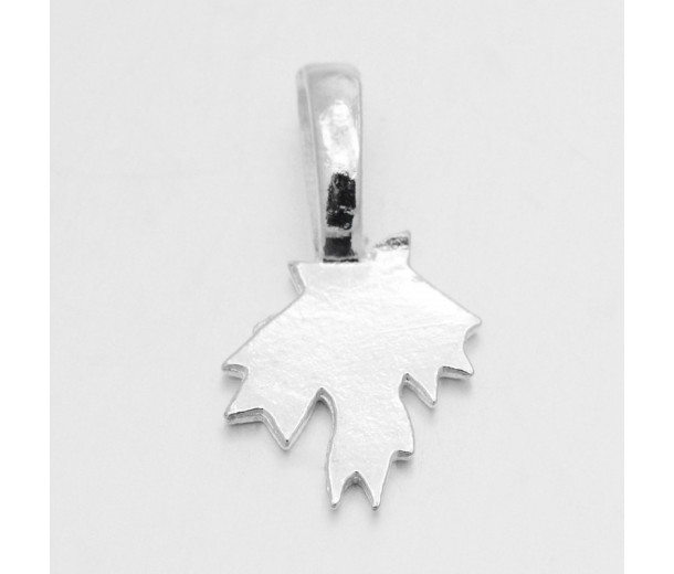 21mm Maple Leaf Glue-On Flat Pad Bails, Silver Tone, Pack of 10