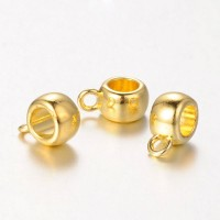12x8mm Puffy Slider Bails, Gold Tone