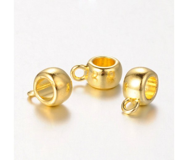 12x8mm Puffy Slider Bails, Gold Tone, Pack of 10