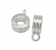 12x9mm Grooved Slider Bails, Silver Tone