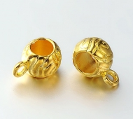 12x8mm Puffy Textured Bails, Gold Tone