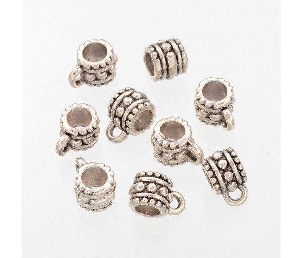 10mm Studded Bali Bails, Antique Silver, Pack of 10