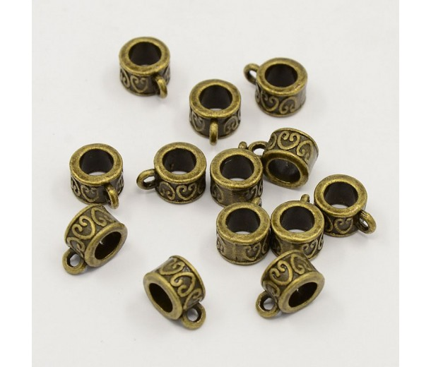 11x8mm Ornate Barrel Bails, Antique Brass
