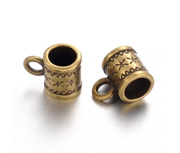 10x6mm Ornate Tube Bails, Antique Brass
