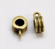 12x8mm Grooved Slider Bails, Antique Brass