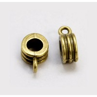 12x8mm Grooved Slider Bails, Antique Brass