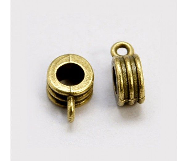 12x8mm Grooved Slider Bails, Antique Brass, Pack of 10