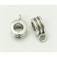 12x8mm Grooved Slider Bails, Antique Silver