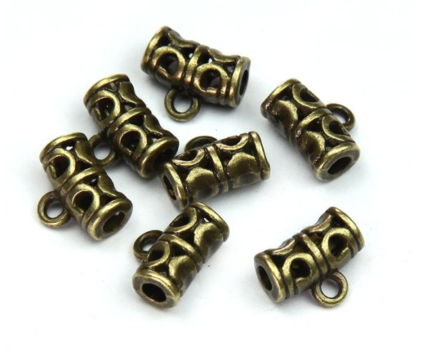 9x11mm Ornate Bali Style Bails, Antique Brass, Pack of 10